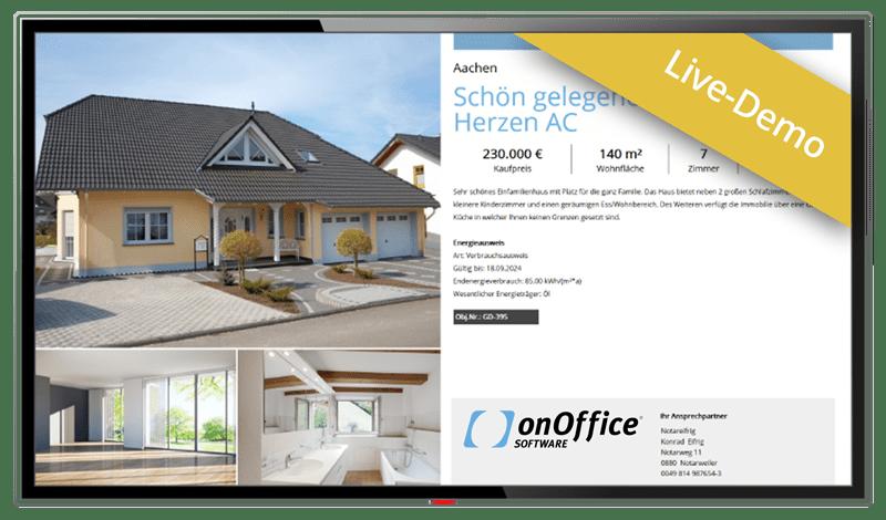 Schaufenster-TV Live-Demo, Bildschirm mit Beispiel-Screen