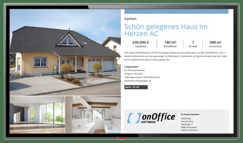 Schaufenster-TV, Bildschirm mit Beispiel-Screen