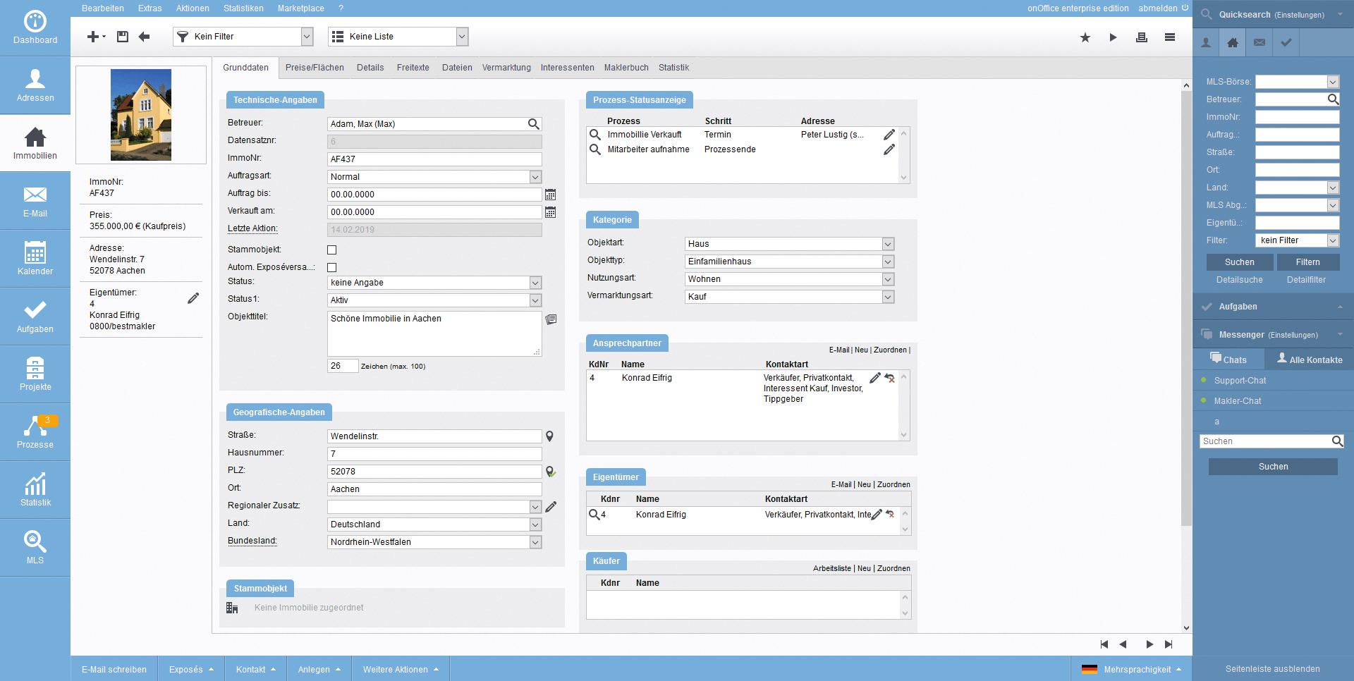 Screenshot Immobilien Detailansicht Grunddaten