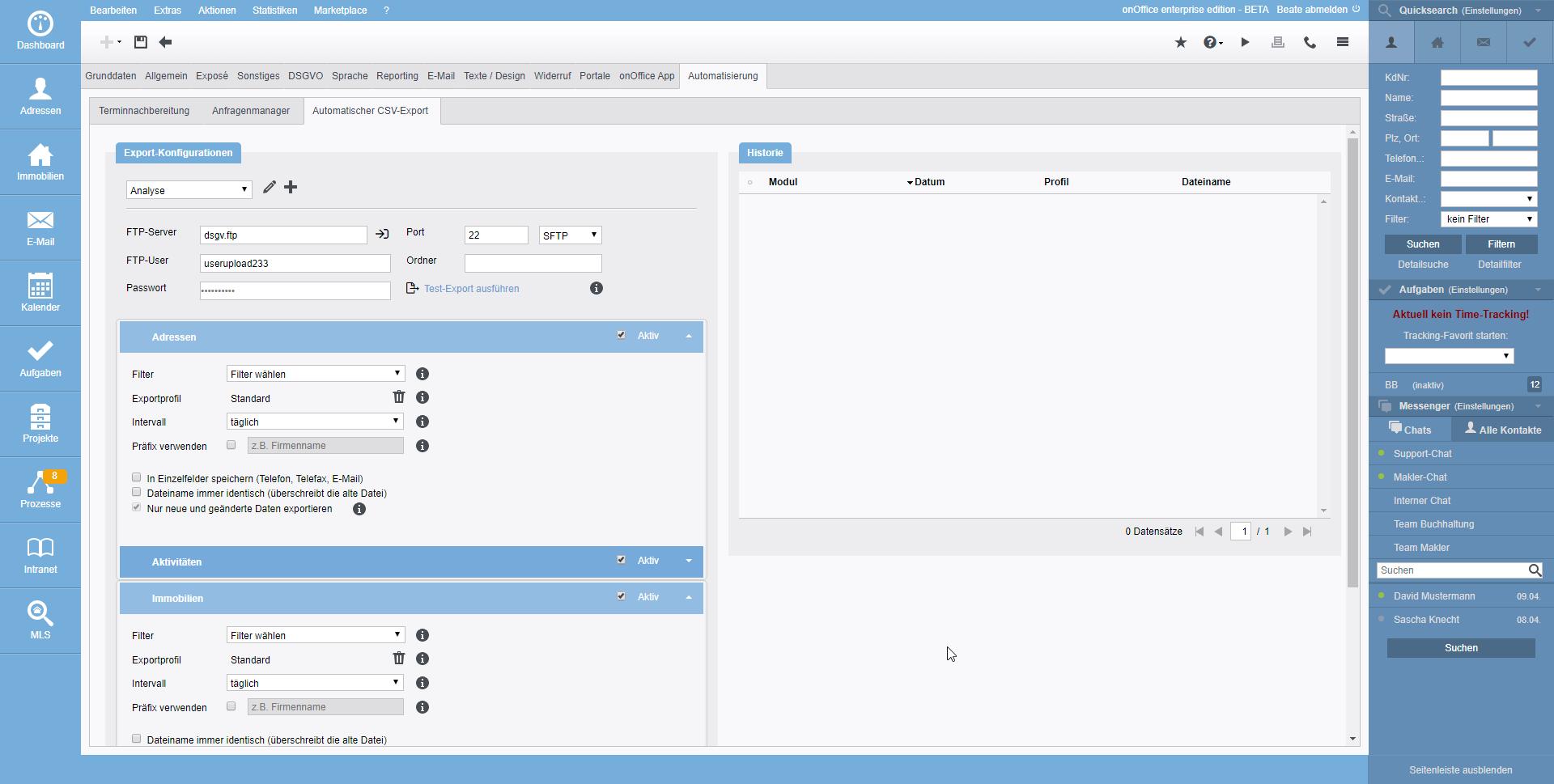 Screenshot Automatischer CSV-Export