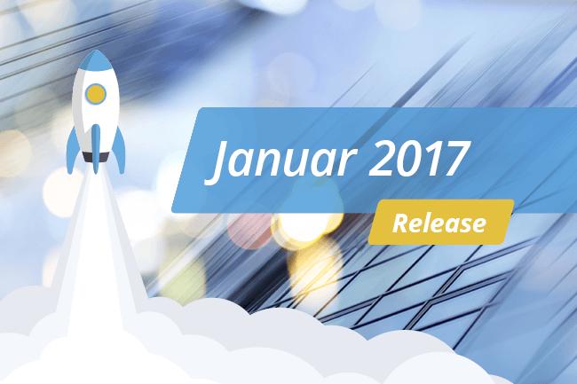 """Blauer Hintergrund mit weißer Schrift """"Release – Januar 2017"""""""
