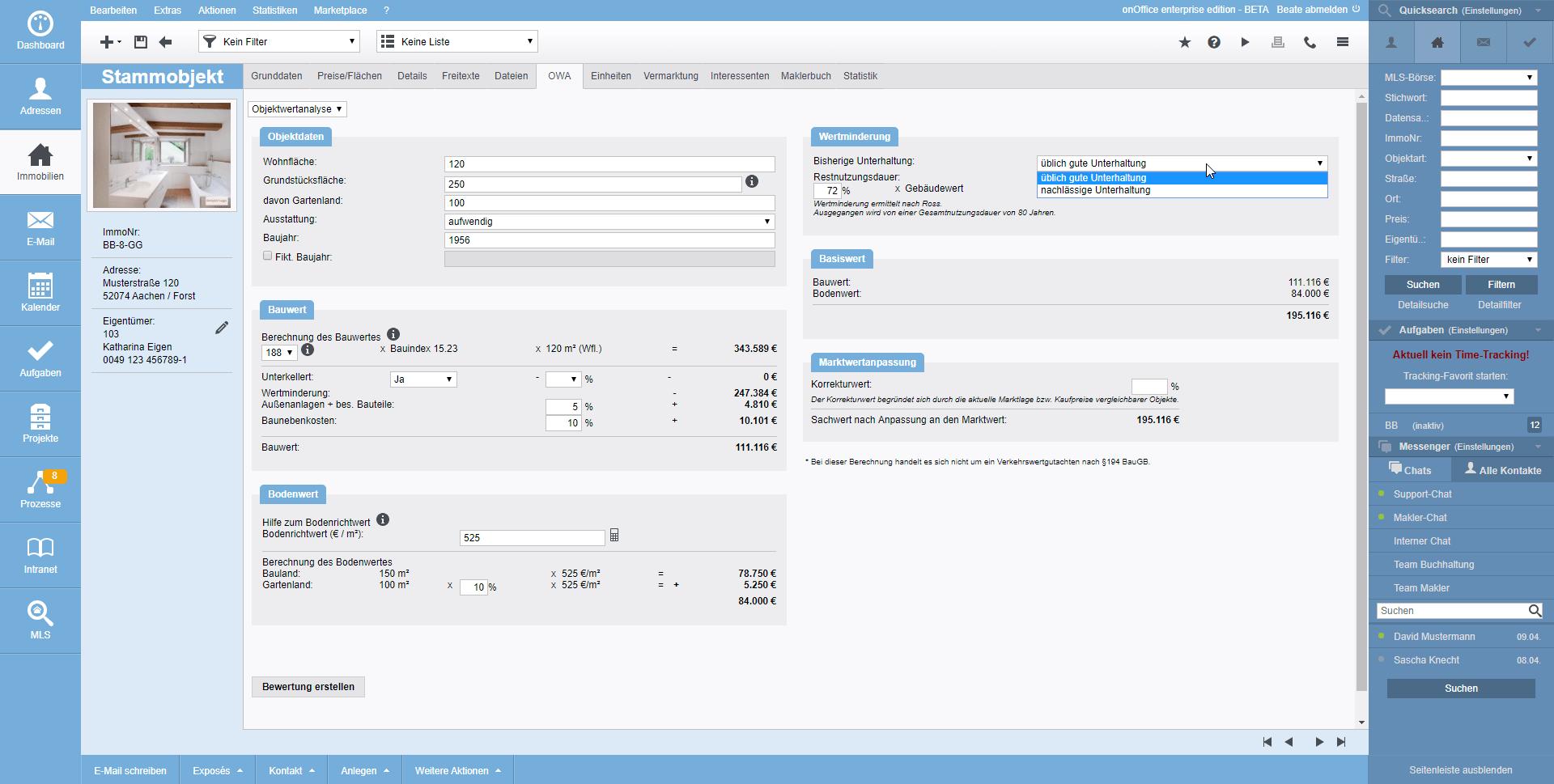 Screenshot Objektwertanalyse