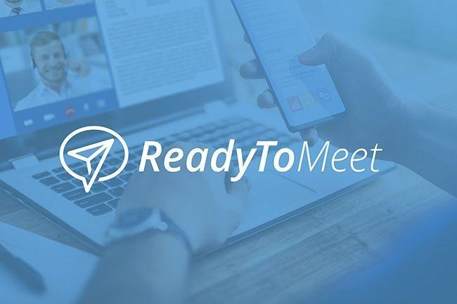 ReadyToMeet-Logo auf Bild mit blauem Overlay