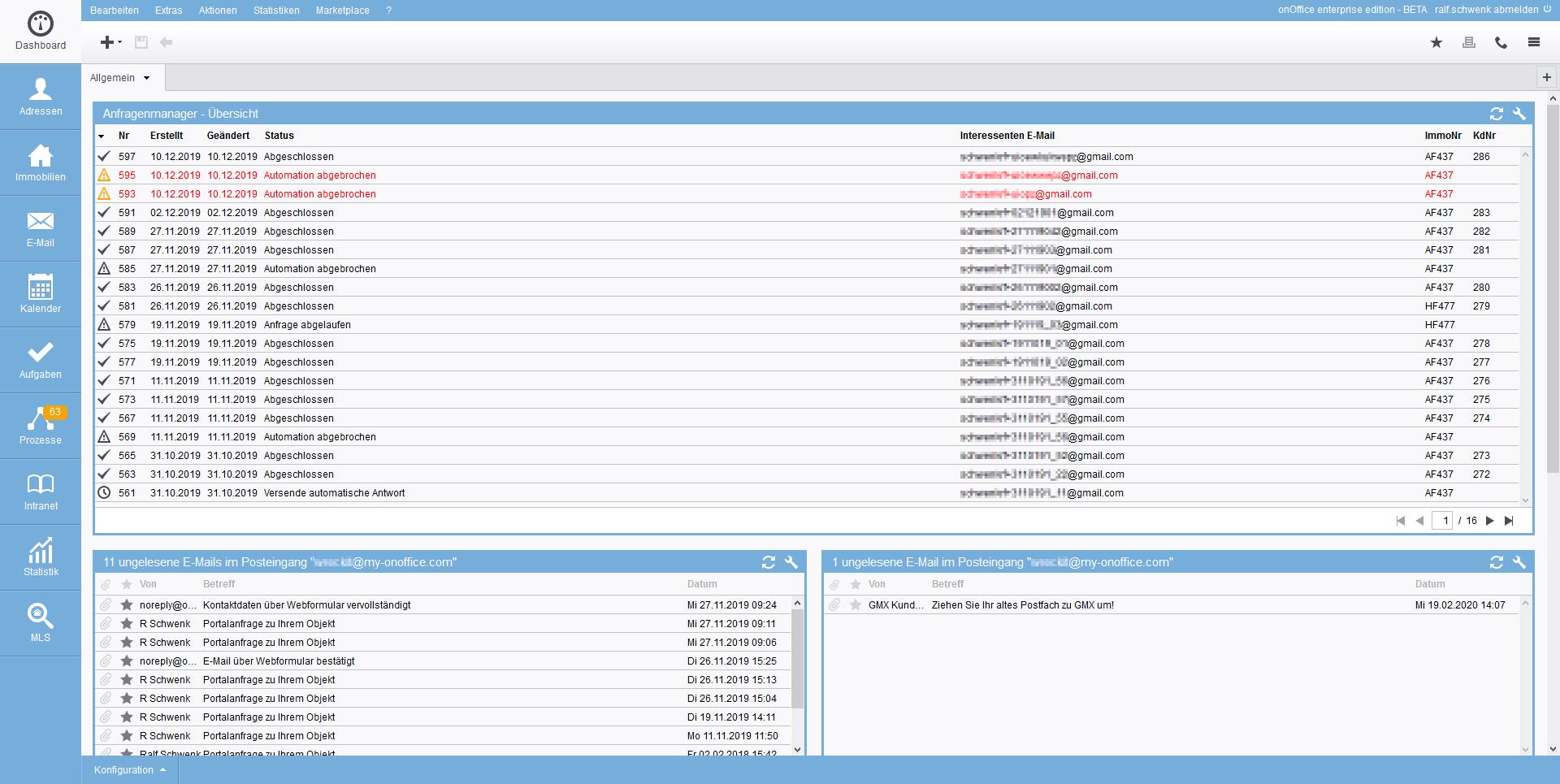 Screenshot Anfragenmanager
