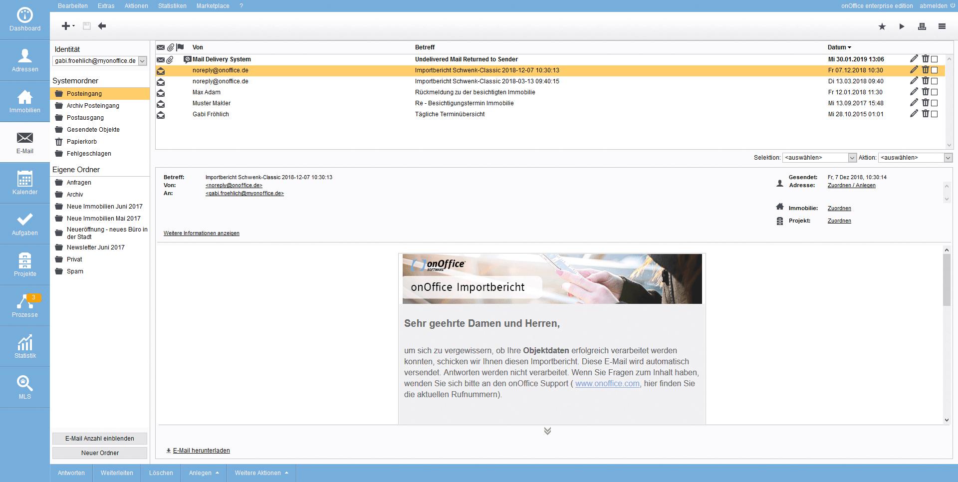 Screenshot E-Mail-Verwaltung