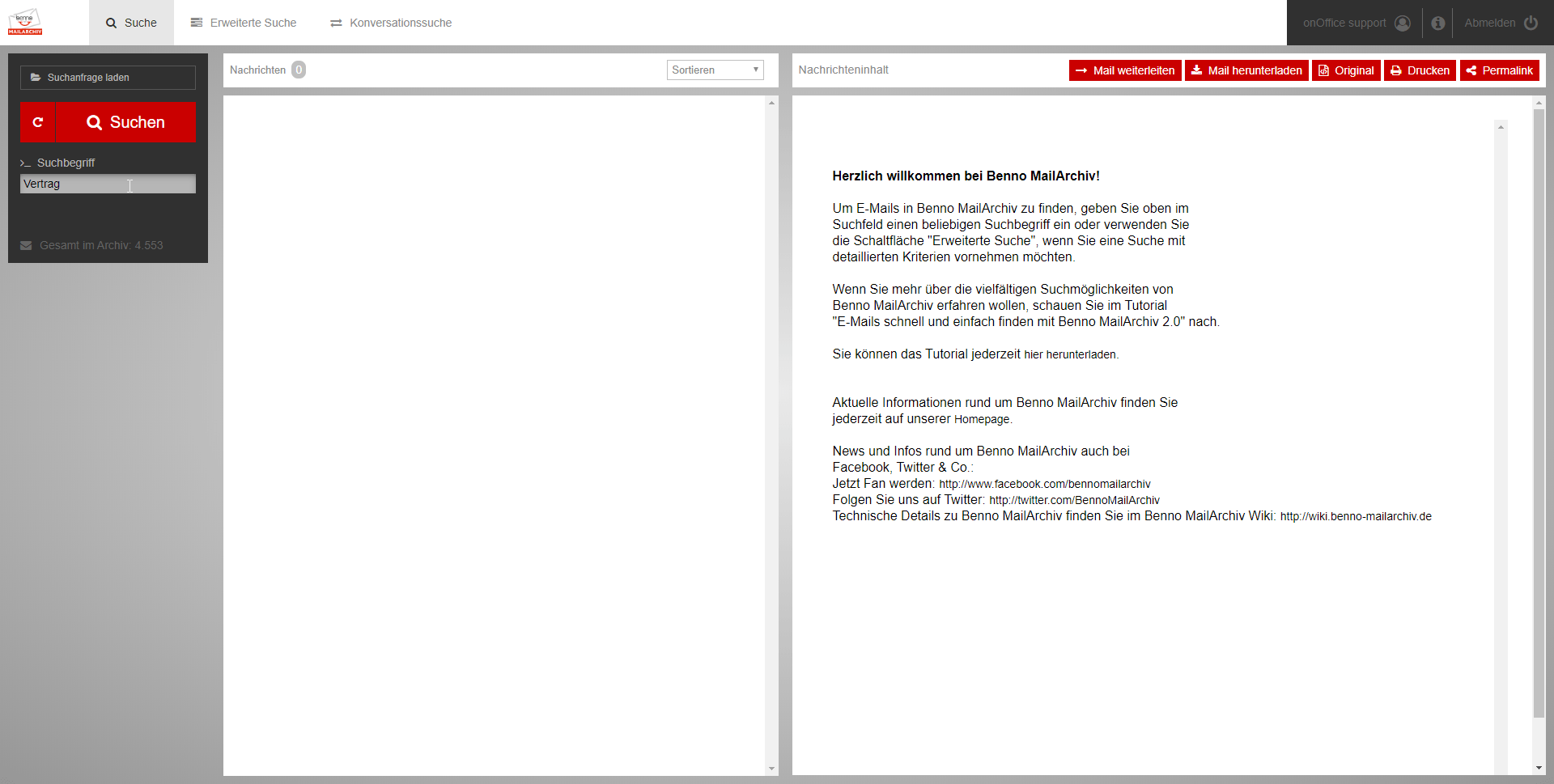 Screenshot Benno Mailarchiv