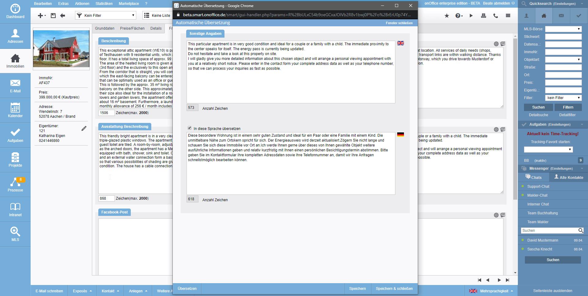 Screenshot Mehrsprachigkeit Übersetzung