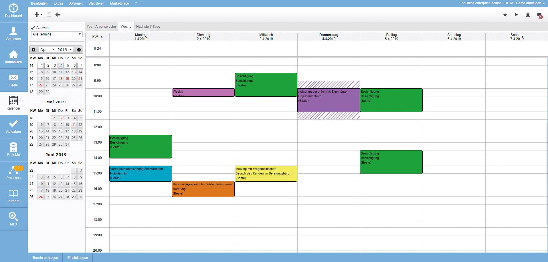Screenshot Kalender Übersicht