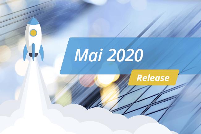 """Blauer Hintergrund mit weißer Schrift """"Release – Mai 2020"""""""