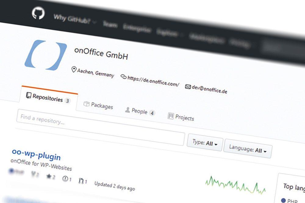 Screenshot onOffice GitHub Account
