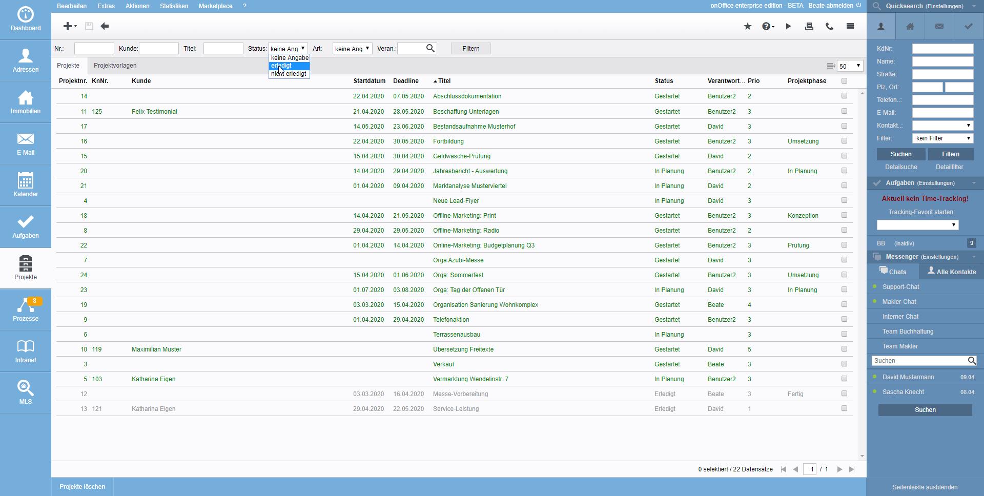 Screenshot Projektverwaltung Liste