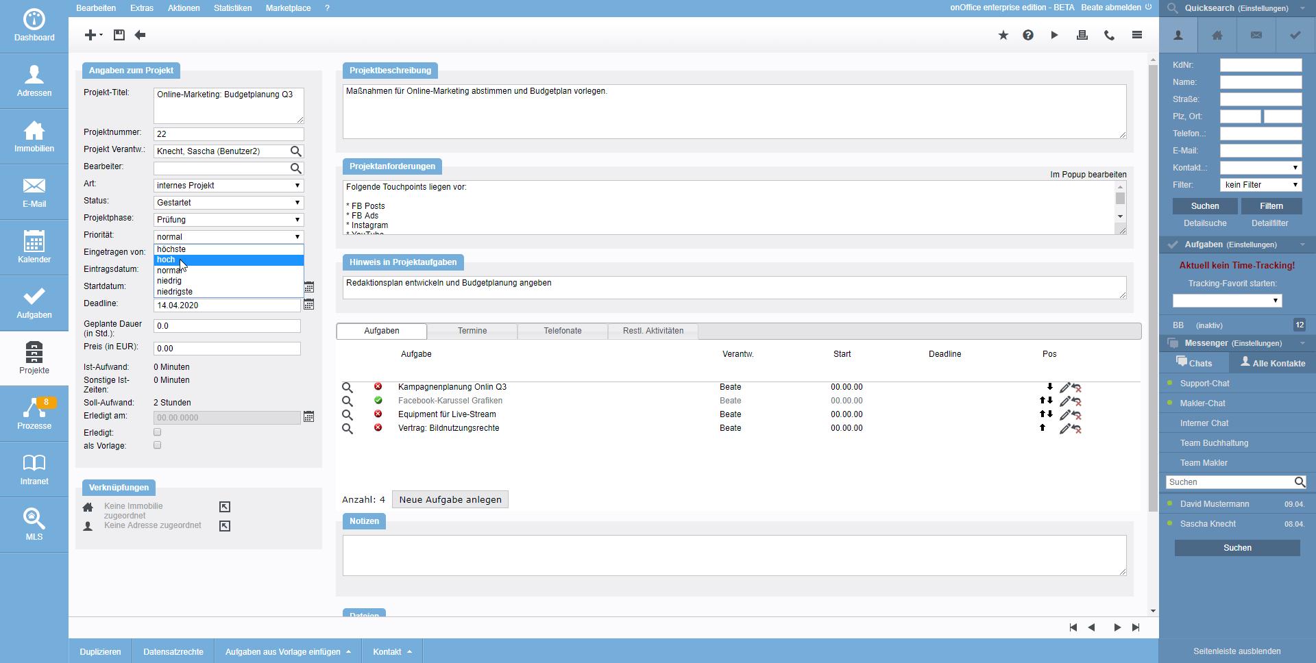 Screenshot Projektverwaltung Detailansicht