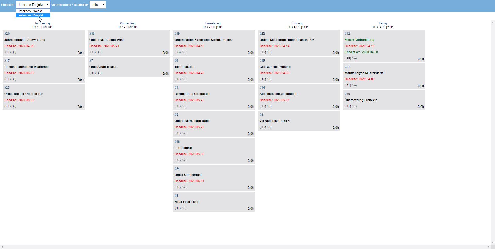 Screenshot Projektverwaltung Projektübersicht