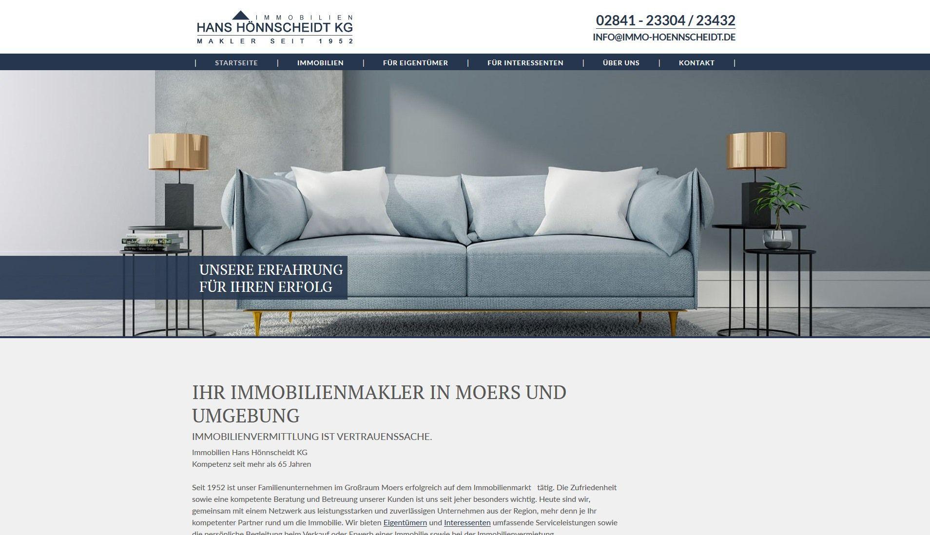 Screenshot Website Immobilien Hönnscheidt