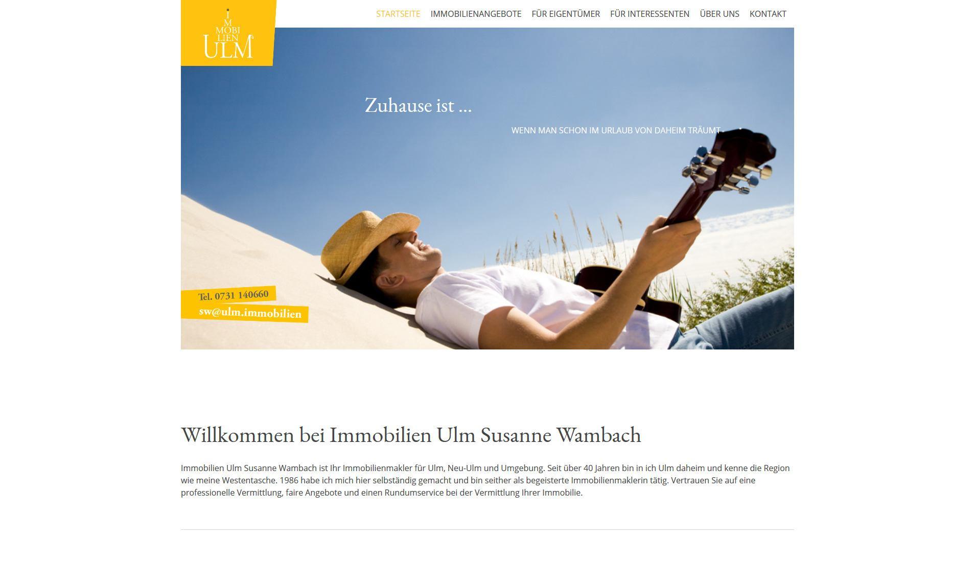 Screenshot Website Immobilien Ulm