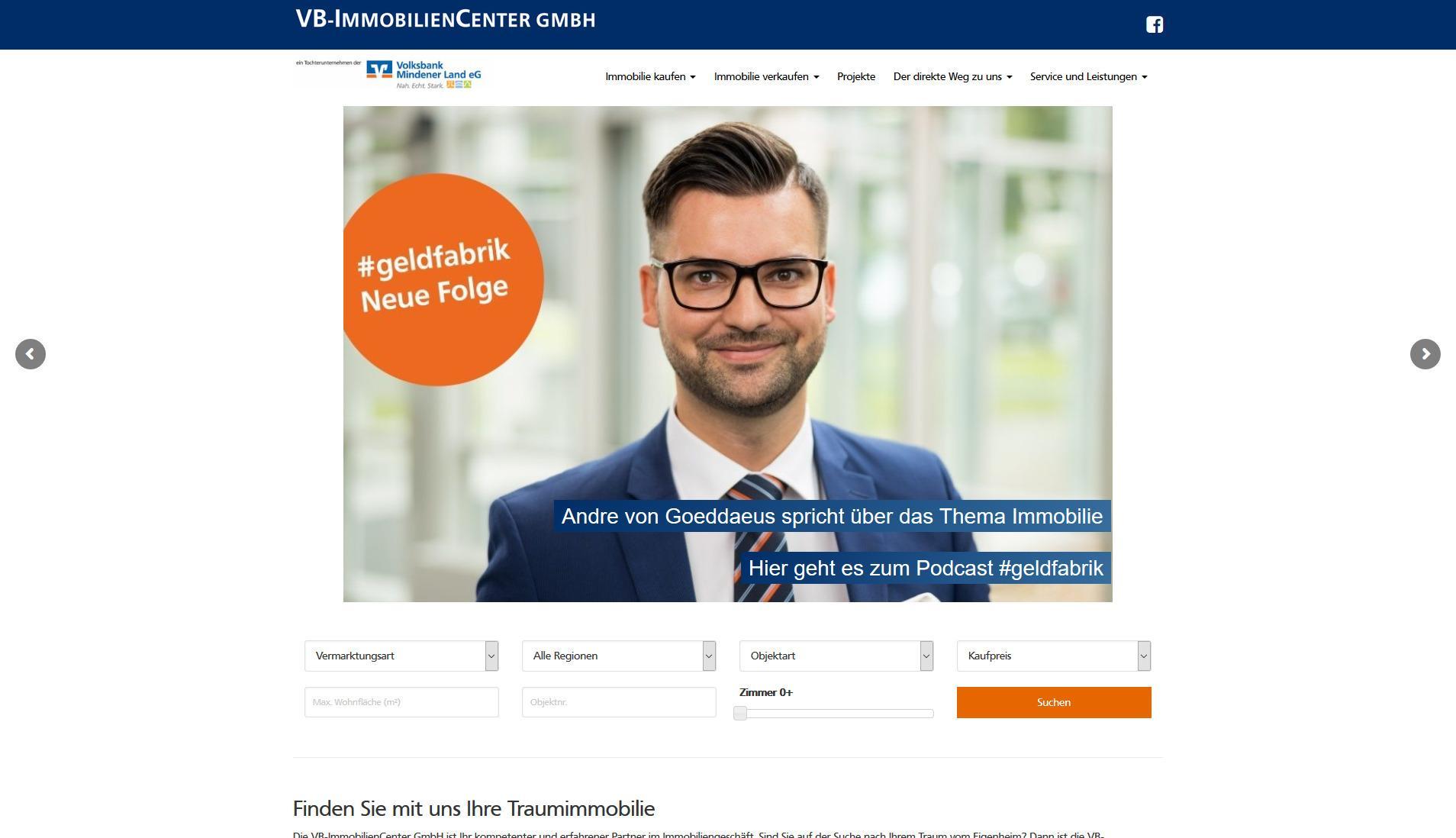 Screenshot Website VB ImmobilienCenter GmbH