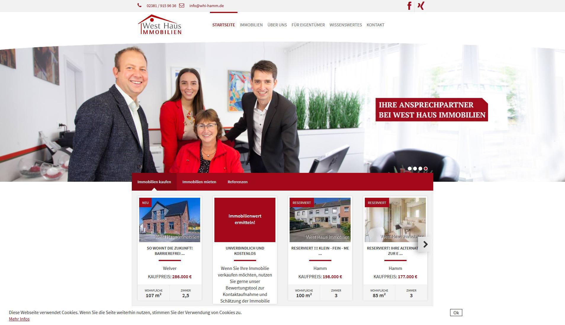 Screenshot Website West Haus Immobilien