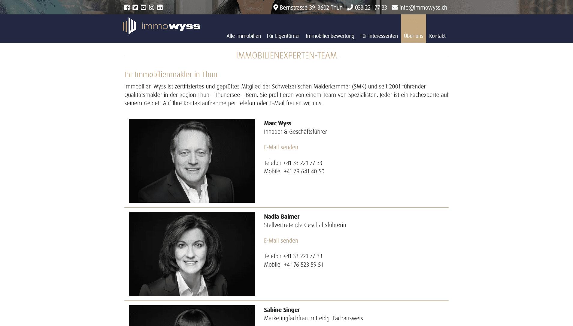 Immobilien Wyss: Screenshot Website