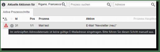 Prozess keine gültige E-Mail-Adresse Meldung Screenshot
