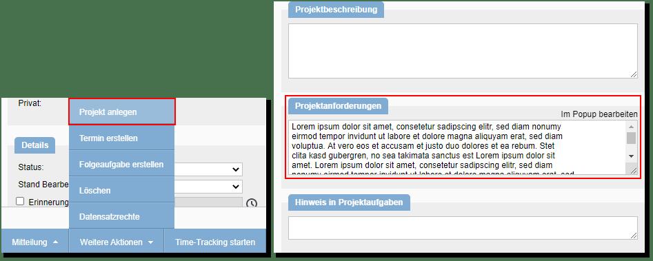 Projekt aus Aufgabe anlegen Screenshot