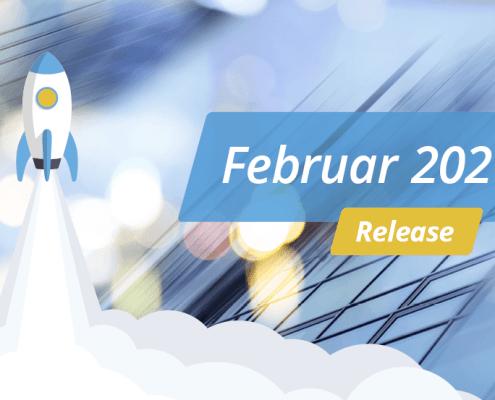 """Blauer Hintergrund mit weißer Schrift """"Release – Februar 2021"""""""