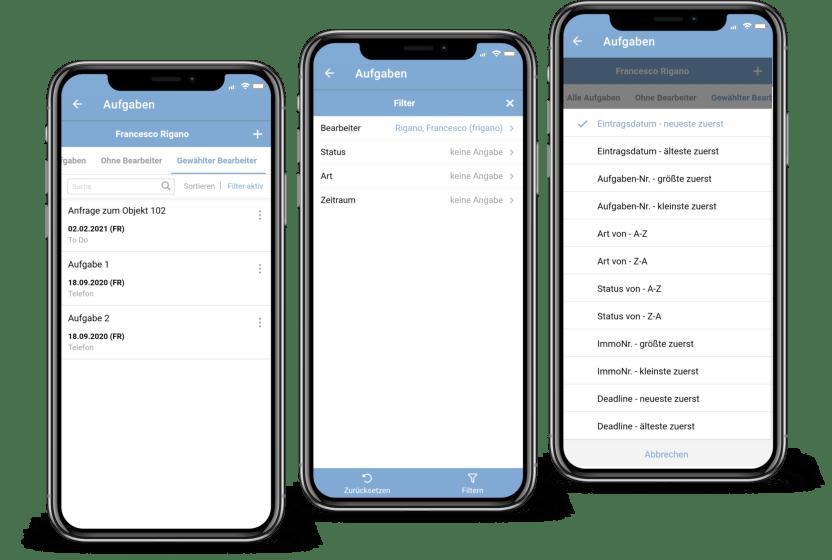 Screenshot Aufgabenliste in der onOffice App