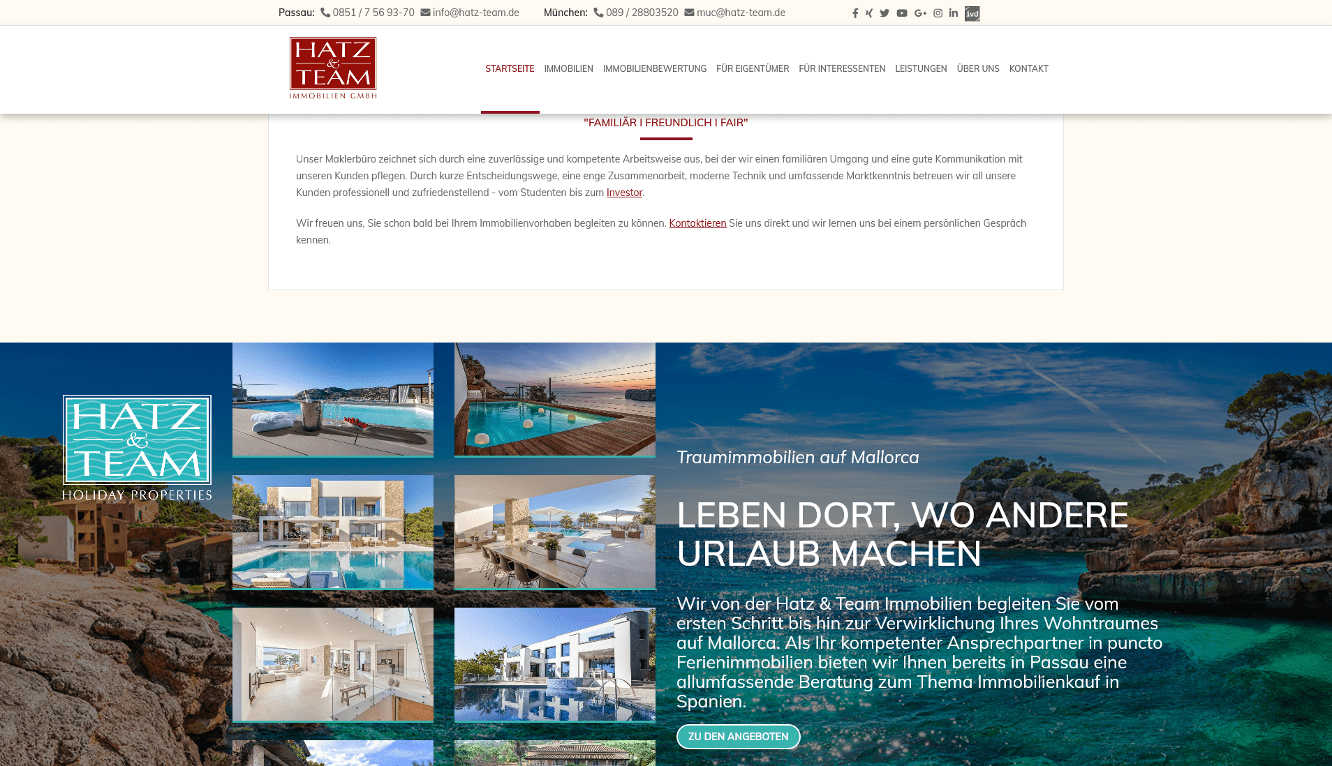 Hatz & Team Immobilien: Screenshot Website