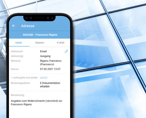 Die neue Aktivitätenansicht in der onOffice App