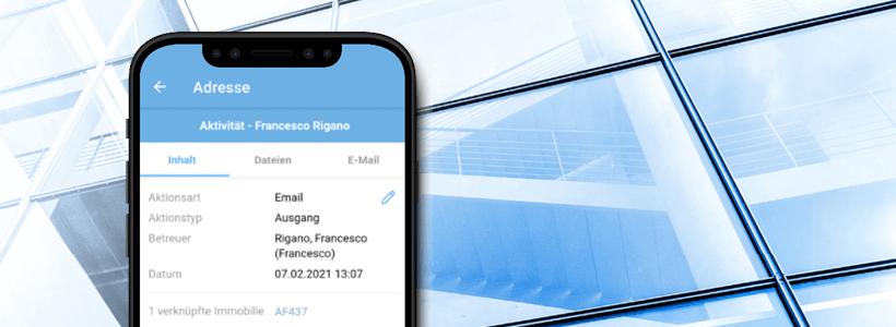 onOffice App Aktivitätendetailansicht im Reiter Inhalt
