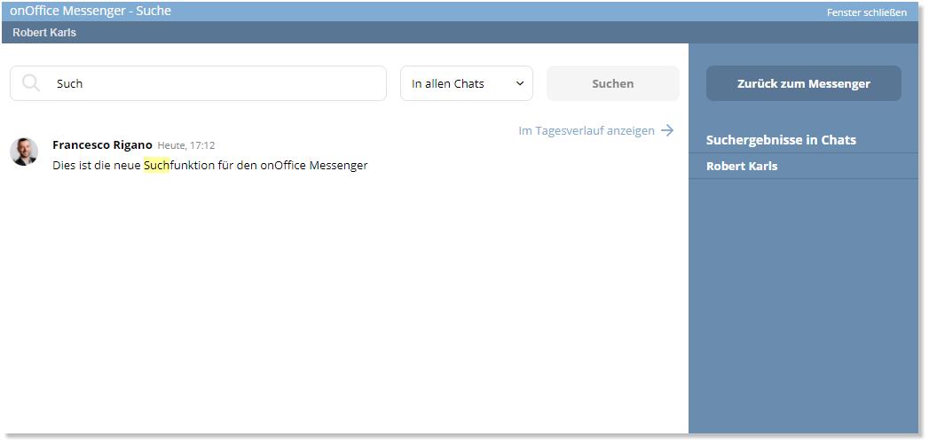 Screenshot onOffice Messenger eingegebener Suchbegriff