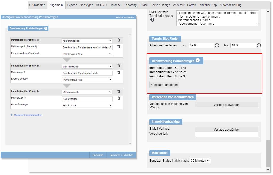 Screenshot Beantwortung Portalanfragen - Grundeinstellungen