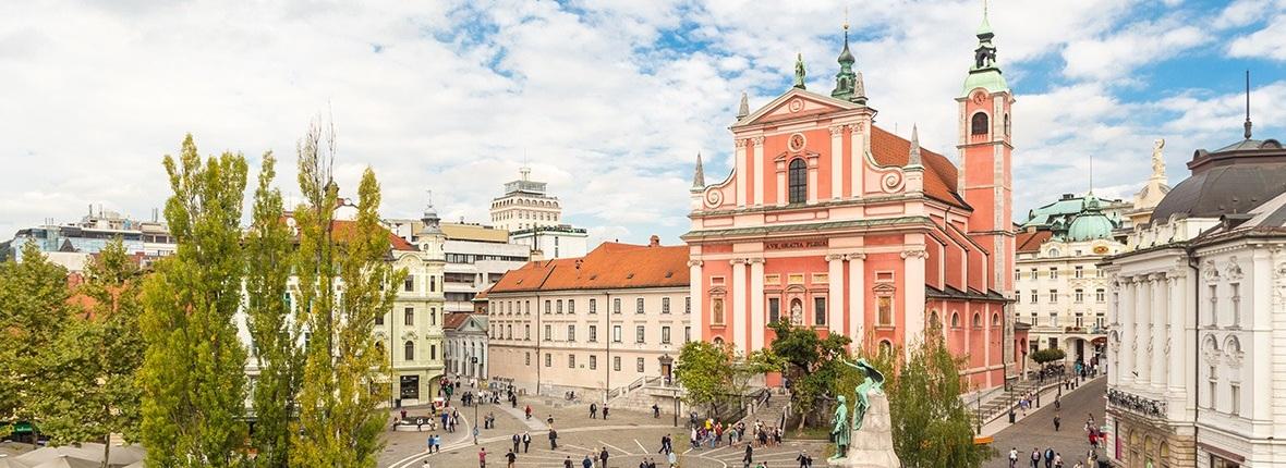 Blick über die Stadt Ljubljana