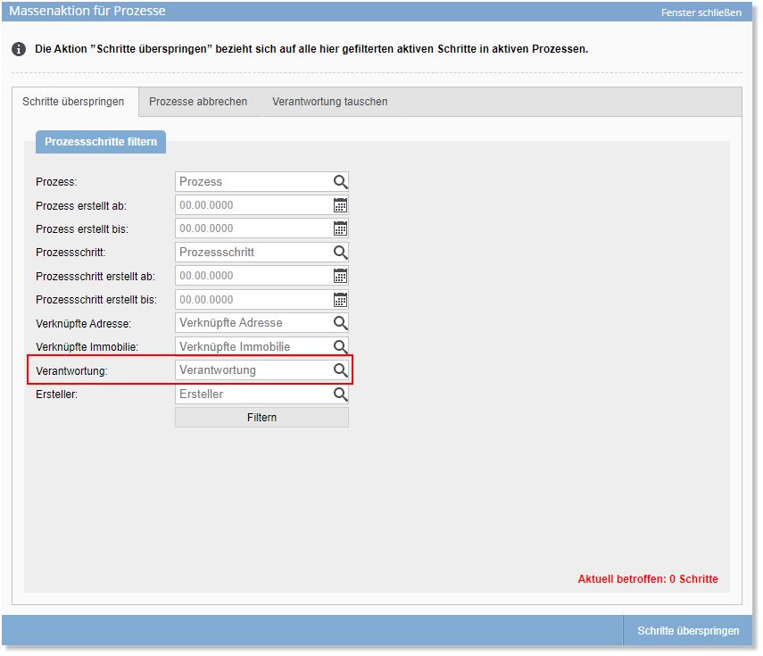 Screenshot Massenaktion Prozesse Verwantwortung
