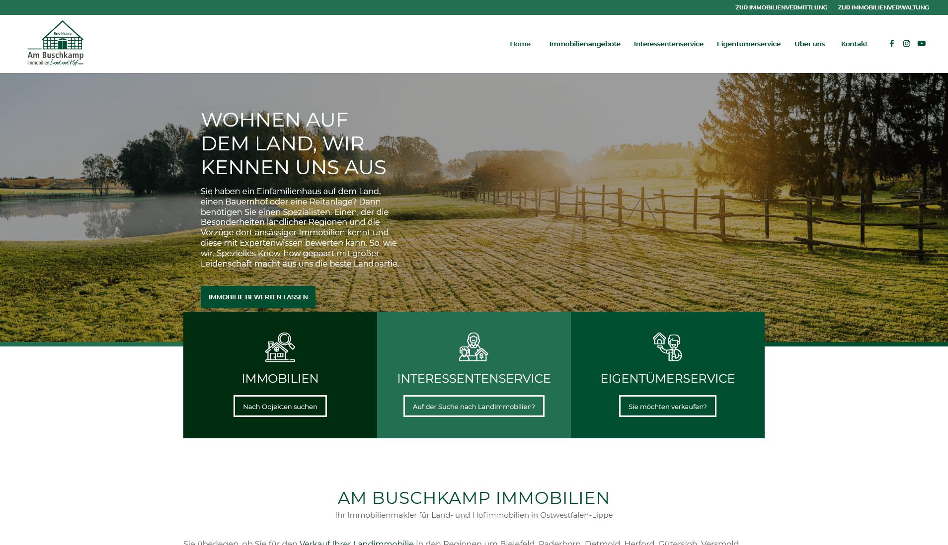 Am Buschkamp Landimmobilien: Screenshot Website