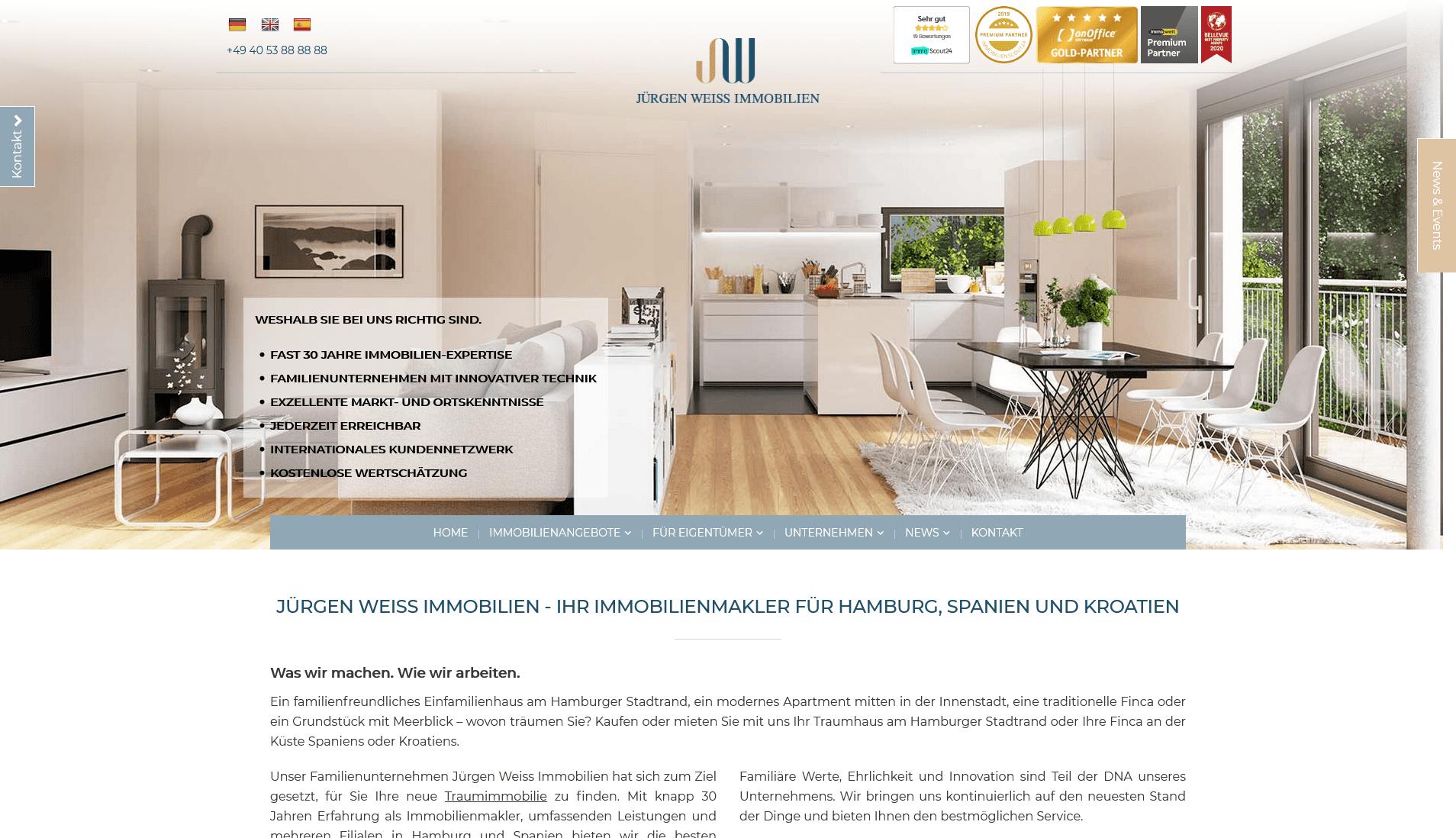 Jürgen Weiss Immobilien: Screenshot Website